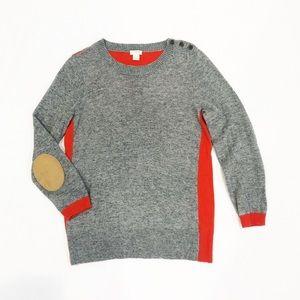 J.Crew Grey Orange Elbow Patch 3/4 Sleeve Sweater
